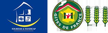 Logo Tourisme et Handicap et Gîtes de France 3 épis